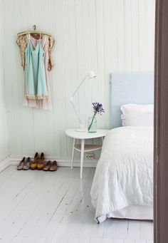 soft pink & baby blue pastels & white panted floors