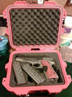 I actually have this!  25 caliber with pink pearlized grips!  Soooo cute!