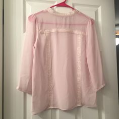 Lauren Conrad Runway Sheer Lace Trim Blouse NWOT Brand new. Never been worn. Was given to me as a Xmas gift without tags. Lauren Conrad Tops Blouses