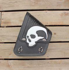 Custom Motorcycle Swingram Bag with White Skull by TaurusSeats
