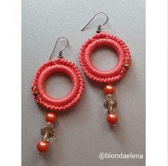 Diy Earrings Crochet, Crochet Rings, Tatting Earrings, Crochet Bracelet, Bead Earrings, Earrings Handmade, Bead Crochet, Handmade Jewelry, Beaded Bracelets