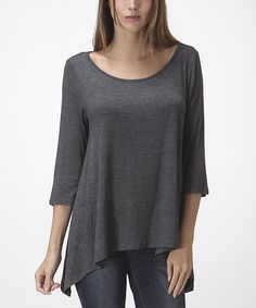 Look what I found on #zulily! Charcoal Scoop Neck Sidetail Top #zulilyfinds