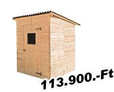 kerti faház vagy szerszámtároló  Panel szerszámtároló padlózattal, egyszárnyas ajtóval, lapostetős, bitumenes hullámlemezzel