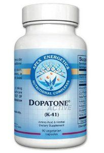 Apex Energetics -Dopatone (K-41) 90 Capsules by Apex Energetics. $36.50. Focus and Happiness in a bottle. This product provides nutrients that support healthy dopamine activity, support health of dopaminergic neurons, and provide targeted amino acids and cofactors required for dopamine production.?  ? This statement has not been evaluated by the Food and Drug Administration. This product is not intended to diagnose, treat, cure, or prevent any disease.