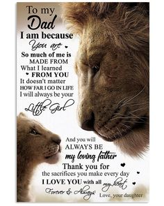 Lion canvas poster dear daddy i am because you are so much of me laways be my loving father love you with all my heart love your daughter