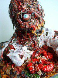 This looks like an incredibly hard cake to make, but VERY well done! Zombie anyone :D Zombie Themed Party, Zombie Birthday Parties, Scary Cakes, Zombie Cakes, Halloween Cakes, Halloween Treats, Scary Halloween, Halloween Party, Beautiful Cakes