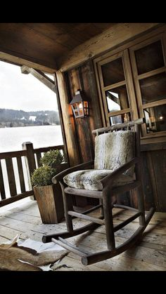 rustic rocking chair on the porch of a french ski chalet Cabin Homes, Log Homes, Ferreira Do Zêzere, Cabana, Cabin Porches, My French Country Home, Ski Chalet, Alpine Chalet, Chalet Style