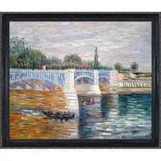 Tori Home The Seine With the Pont de la Grande Jatte Summer by Vincent Van Gogh Framed Original Painting