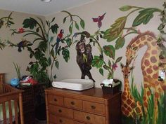 BABY NURSERY JUNGLE MURAL all 4 wall mural for baby nursery jungle animal kingdom theme green grassland trees leaves monkey parrots giraffe flowers fauna garden vines hand painted mural home interior design decor children bedroom NEW JERSEY (347) 223-7533  info@muralpainternyc.com www.muralpainternyc.com