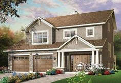 House plan W3443, Plan description  1st level: Spacious entry hall, family room, dining room, kitchen with work island lunch counter, breakfast area, half-bath.  2nd level: Master bedroom suite with two separate walk-in closets and private bathroom, two secondary bedrooms, full bathroom, laundry room.