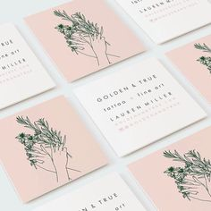 square business cards with an illustration on one side. Graphisches Design, Logo Design, Graphic Design Branding, Corporate Design, Stationery Design, Layout Design, Packaging Design, Design Cars, Identity Design