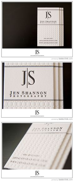 Business Card inspiration / Jennifer Shannon / white and letterpress / embossed / clean / design