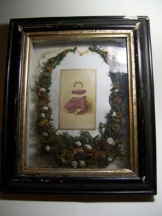 CDV Shadowbox Mourning Memorial Dead Death Antique Child Baby Flowers Momento | eBay