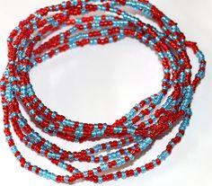Waist Beads Red and Blue Waist Beads African by AfrowearHouse #waistbeads #beads #redwaistbeads