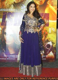 Madhuri Dixit Blue Anarkali Style Gown at Dedh Ishqiya Premiere