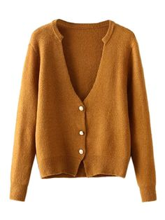 Brown,V-neck,Button Up,Knit Cardigan