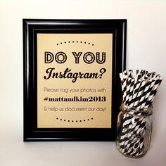 INSTAGRAM Wedding Sign, Twitter, Social Media, Engagement Party, Rustic, 8x10. $10.00, via Etsy.