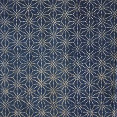 Sri | A Length of Katazome Cotton: Asa no Ha or Hemp Leaf Pattern