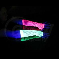 uv black light fishnet arm, wrist hand covers