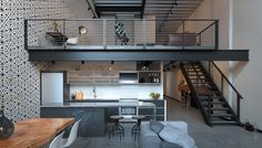 Home Interior Loft Design Ideas Small Apartment Interior, Apartment Design, Interior Design Living Room, Apartamento Loft Industrial, Loft Design, House Design, Architecture Design, Modern Office Decor, Casas Containers
