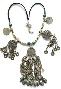 Vegan Bohemian Gypsy statement chocker coins Necklace Tribal Nomad Kuchi jewelry parts necklace Free people style OOAK by Inali Model #7 by handmadebyinali on Etsy
