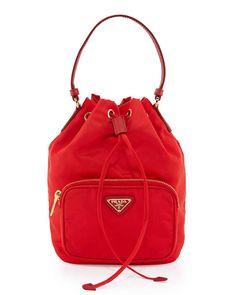 Prada Tessuto Mini Bucket Crossbody Bag Red #fashionbag