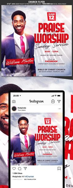 """Church Flyer Template is very modern psd flyer that will be the perfect invitation for your Worship church event or Church Service! All elements are in individual layers and the text is fully editable! 2 PSD files – 4""""x4"""" with 0.25"""" bleed + 1080×1080 RGB Social Media Clearly labelled folders and layers"""