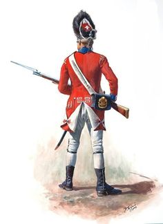 """A private of the Grenadier Company of the Regiment of Foot (Royal Welsh Fuzileers) about Note the large cartridge box badge depicting the three feathers of the Prince of Wales and regimental motto """"Ich Dien"""" (I serve). Artist Don Troiani. British Army Uniform, British Uniforms, British Soldier, Independence War, American Independence, American Revolutionary War, American Civil War, Military Art, Military History"""