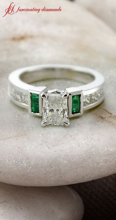 Style your own engagement rings only at Fascinating Diamonds. #green emerald #engagement rings