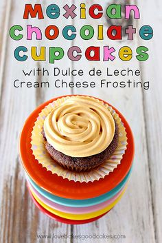Mexican Chocolate Cupcakes with Dulce de Leche Cream Cheese Frosting