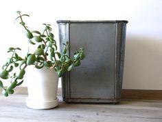 Mid Century industrial metal wastebasket // planter // decor