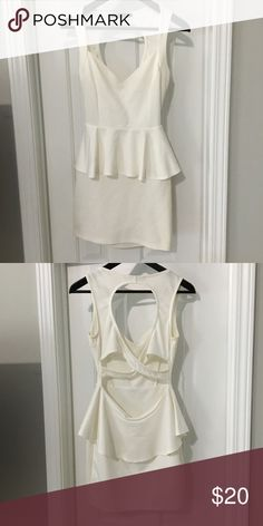 835c73532a White Foreign Exchange peplum dress White Foreign Exchange Peplum Dress  size small. Material stretches Foreign Exchange Dresses