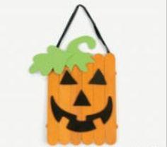 "7.5"" Wood Craft Stick Jack-O'-Lantern Pumpkin Craft Kit Set/2 NIP"