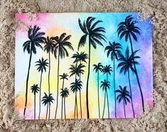 Palms Sunset new title #Drawingtips #watercolorarts Watercolor Trees, Watercolor Paintings, Watercolor Sunset, Painting Inspiration, Art Inspo, Sunset Canvas, Painting & Drawing, Drawing Drawing, Drawing Ideas