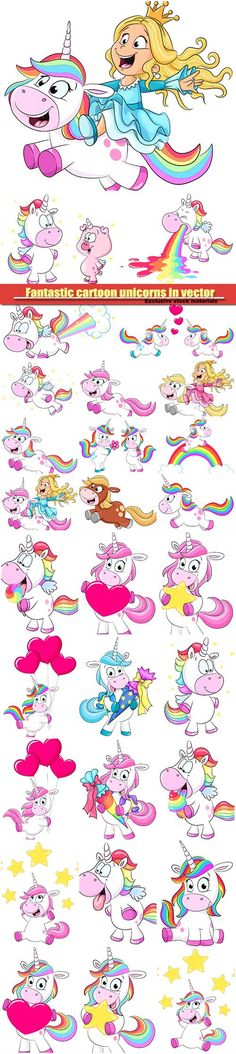 Fantastic cartoon unicorns in vector