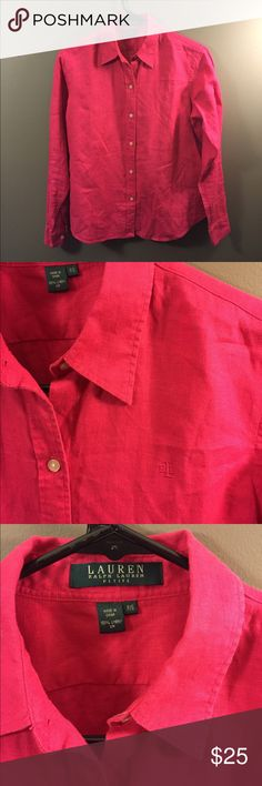 Ralph Lauren Pink 100% Linen Button Down Shirt PS Excellent condition! Thank you for looking!  #ygwyt002 petite Ralph Lauren Tops Button Down Shirts