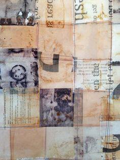 sewn tea bags, June 2013 by Jennifer Coyne Qudeen Tea Bag Art, Tea Art, Mixed Media Collage, Collage Art, Used Tea Bags, Encaustic Art, Textiles, Art Journal Pages, Art Journals