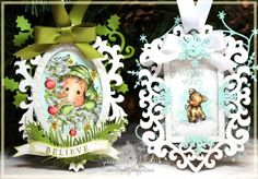 Holiday ornaments made with cheap wood frames, spray painted, embellished and then some sweet Magnolia stamps colored & added