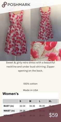 Flower Power Dress 🖼See picture for description and size chart.         🚫 I do not trade.      .                                        ❌ ALL AVAILABLE SIZES LISTED- no modeling                                                                    👗Modcloth is listed for exposure: Brand is Retrolicious or Folter.                 🌻💐Instagram: lovelyinlilacofficial ModCloth Dresses