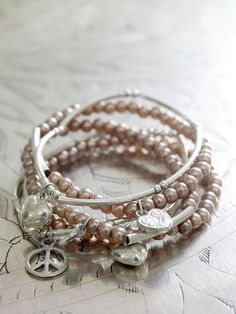 Silver and Pink Beaded Bracelet <3