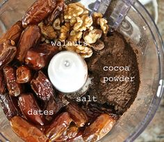 Chocolate Fudge Brownie Larabar Bites 1 cup walnuts  1 and 1/3 cups pitted dates  1 tsp pure vanilla extract  4 tbsp cocoa powder  1/8 tsp salt  optional: chocolate chips 1. Blend all the ingredients in a food processor. 2. Form into balls