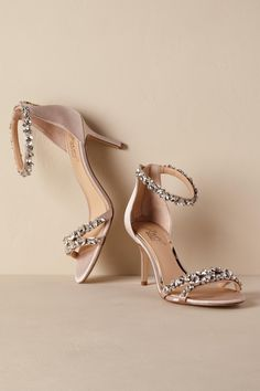 Wedding Styles Jewel by Badgley Mischka Gia Heels from - Crystal-encrusted straps and chic zipper-closure complete this nude satin pair. By Badgley Mischka Style Wedding Boots, Wedding Heels, Peep Toe Heels, High Heels, Shoes Heels, Sandal Heels, Strappy Sandals, Sandals Platform, Birkenstock Sandals