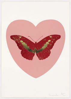 Damien Hirst: I Love You - Pink/Poppy Red/Cool Gold