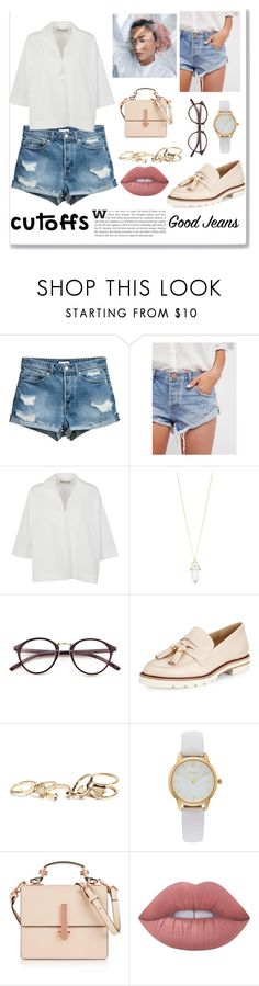 """Cutoffs"" by yumyv ❤ liked on Polyvore featuring Free People, Balenciaga, Accessorize, Stuart Weitzman, GUESS, Vivani, Kendall + Kylie and Lime Crime"