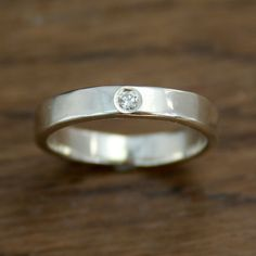 Alternative Engagement Diamond Ring, Flush Set, Conflict Free, Ethical, Eco-Friendly, 100% Recycled Silver&Gold, April Birthstone on Etsy, $219.41