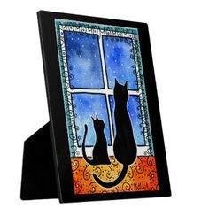 Waiting for Spring Black Cat Card Plaque - home gifts ideas decor special unique custom individual customized individualized