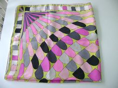 Emilio Pucci 60's hot pink silk scarf Pucci by TorontoTreasures