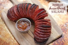 Drunken Hasselback Salami Recipe @jessmailloux You should try this Jessica: anything Hasselback sounds good to me!