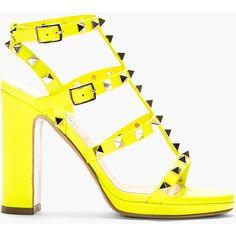 Valentino Neon Yellow Multi-Strap Rockstud Heeled Sandals $766