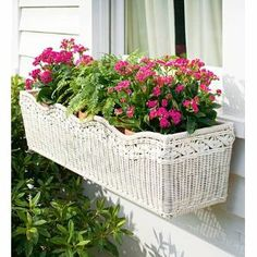 Love Wicker!  A Resin Wicker Window Box Planter!!!!!!!!!!!!!!  To Cute! :)